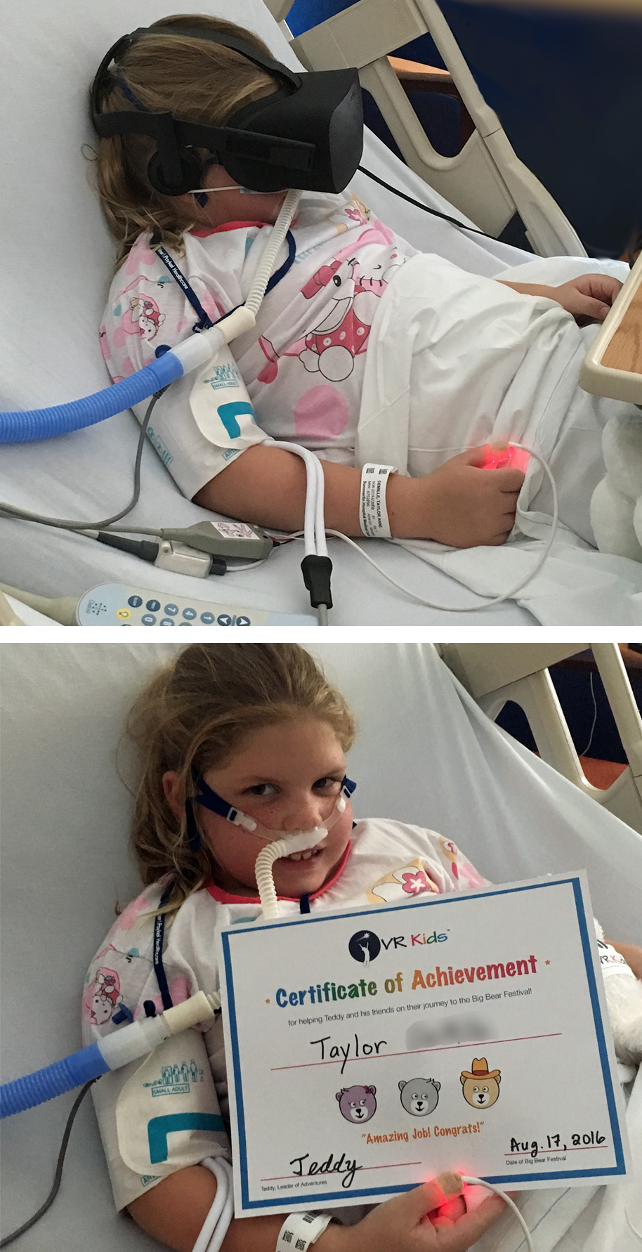 Girl in hospital using therapeutic virtual reality.
