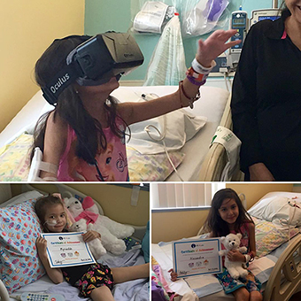 Kids in hosptials playing with VR headsets